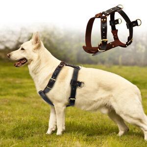 Genuine Leather Dog Harness Heavy Duty Adjustable Large Dogs German Shepherd XL