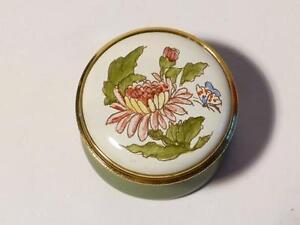 CHRYSANTHEMUM November Month Flower Staffordshire Enamels Pill Box Boxed #20