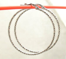 "Diamond Cut Sparkle Hoop Earrings 14K Solid White Gold 1.5x30mm 1 1/4"""