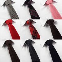 Mens Wool Tie Tweed Scottish Tartan Skinny Slim Red Black Checked Plaid Stripe