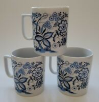 Vintage Porcelain Tea Cups Japan White Blue Floral Set of Three (3)