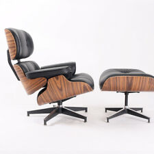 Light Rosewood Eames Style Lounge chair & ottoman Genuine Leather Armchair