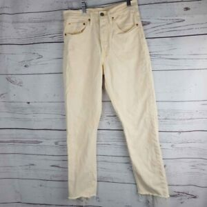 Levi & Strauss 501 Yellow Cropped Jeans Acid Wash Multi Button Raw Hem 26x30