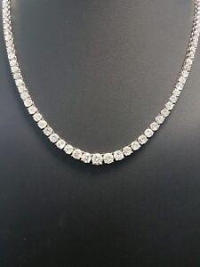 Last Piece - RRP £10000 - 12.00ct Round Diamond Graduated Necklace, White Gold