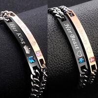 Fashion Unisex Women Men Stainless Steel Chain Couple Bracelet Bangle Wristband