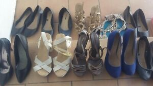 Bulk lot of 10 pairs of womans shoes, high heals and flats