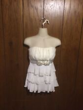Women's Juniors Studio Y Sleeveless Strapless Zippered Laced Ruffled Top Size XS