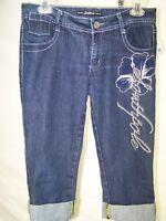 Southpole Blue Embroidered Crop Capri 5 Pocket Denim Jeans Juniors Size 7 Medium