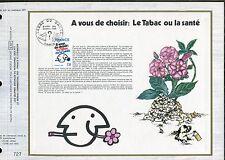 DOCUMENT CEF PREMIER JOUR  1980  TIMBRE   N° 2080 LUTTE CONTRE LE TABAC