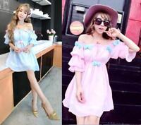 Womens Japanese Sweet Cute Girls Princess Lolita Bowknot Strapless Chiffon dress