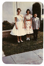 Vintage 50s Glossy PHOTO Girls & Boy In Dressy Outfits Dresses Suit Sparkletone