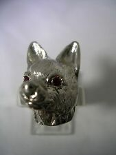 CHIHUAHUA RING WITH  RUBY EYES IN STERLING SILVER COMES IN ALL SIZES