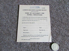 LNER  Railway Form of Authority for PAYBILL  Deduction  1947   ref  a 5053