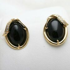 Vintage Black Onyx Earrings 14k yellow gold Oval Studs Cubic Zirconia Estate