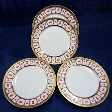 "HAVILAND & PARLON 4 Piece Lot ROSE D'OR Golden Roses 10"" DINNER PLATES Dishes"