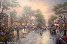 Thomas Kinkade CARMEL, SUNSET ON OCEAN AVENUE 18 x 24 Paper Print Lithograph COA
