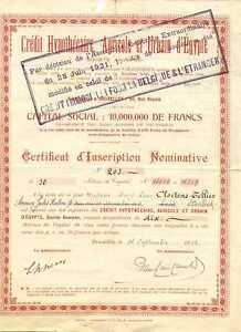 Belgium Agricole Et Urbain D'Egypte Action 500 FR 1923