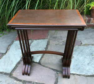 Vintage Nesting Wood Traditional Accent Side End Classic Tables