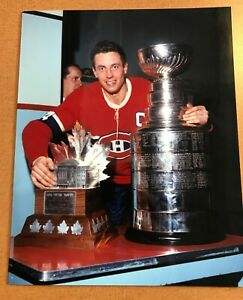 Jean Beliveau Montreal Canadiens NHL  w Cup Photo 8x10 Photo Lab printed