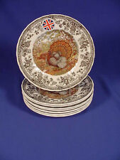 """8 Queen's MAJESTIC BEAUTY 8"""" Plates TURKEY THANKSGIVING ENGLAND NEW!"""