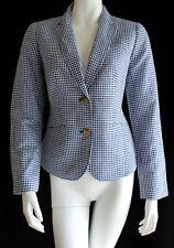 Talbots Attractive Blue & White Linen Blend Gingham Blazer 2 NWT
