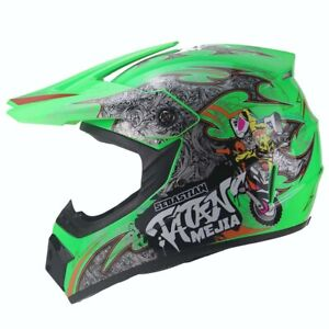 Mejia Crosshelm für Kinder hellgrün Motocrosshelm Helm Kinderhelm Endurohelm