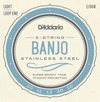 D'Addario EJS60 5 String Banjo Stainless Steel Light 10-20 js60