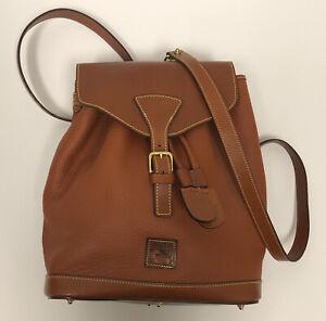 VINTAGE Dooney & Bourke Brown Leather Backpack/Satchel Bag Drawstring Belt Close