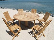 """Genuine Grade A Teak 59"""" Round Drop Leaf Table/6 Folding Chairs, MSRP $4500 SAVE"""