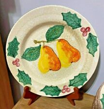 RARE 12 Plates Bellini PIU Hand Painted Made In Italy Hollies & Berries & Pears