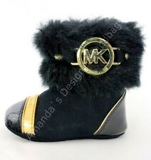 Michael Kors Kids Grace Nia Infant Toddler Faux Fur Black Booties Boots sz 1 NEW