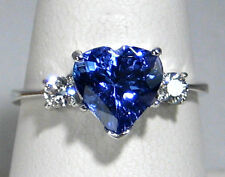 Heart Tanzanite Ring Solitaire Diamond 14K White gold CERTIFIED NATURAL 2.14ct