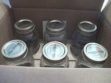 Longaberger Set of 6 Blue Ribbon 1 Quart Canning Jars with Lids Nib
