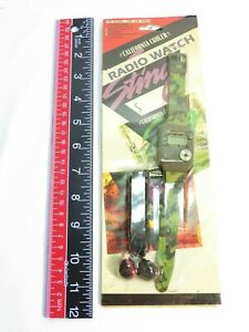 Vintage 1980's FM Radio LCD Watch, Military Camo Unused in Package Prototype?