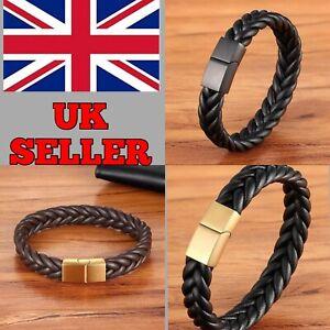 Mens Women Stainless Steel Clasp Leather Bracelet Handmade Wristband Bangle Gift