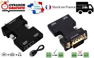 CONVERTISSEUR ADAPTATEUR HDMI FEMELLE VERS VGA MÂLE  AUDIO 1080P + CÂBLE AUDIO