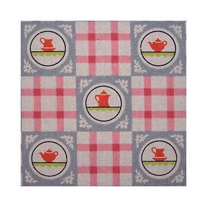 Japanese Linen Fabric Retro Kitchen Check Pink FQ 1/4m