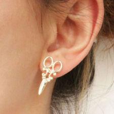 New Cute Women's Stud Earrings Beautician Scissors Silver Plated Stud Gift Box