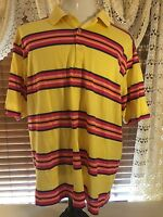 Mens BOBBY JONES Golfing Polo Yellow W/Orange & Blue Stripes XL Shirt