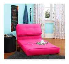 Floor Flip Lounge Chair Ultra Suede Hot Pink Convert to Bed in Dorm Bedroom Den