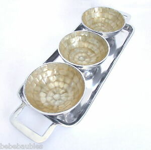 Decorative Aluminum Tray w 3 inlaid Mother of Pearl Bowls Handcrafted India New