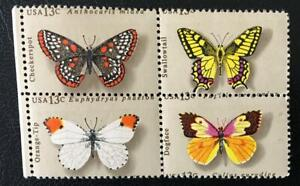 USA. 13 C. BUTTERFLIES. MH BLOCK OF 4. MISSPLACED PERFORATION ERROR.