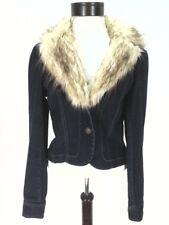 DKNY Blazer Denim Blue Jean Jacket Detachable Faux Fur Collar Womens M to L $149