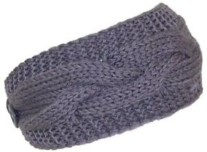 Best Winter Hats Solid Color Cable & Garter Stitch Knit Headband - Gray