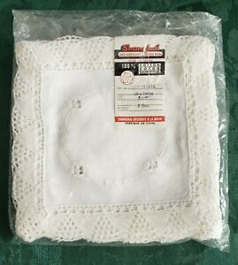 12 Hand Embroidered Drawn Work Lace Trimmed White Cotton Napkin Serviettes
