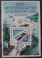 BRD Briefmarken 1991 Block 23 Weltmeisterschaft im Bobsport Gummiert