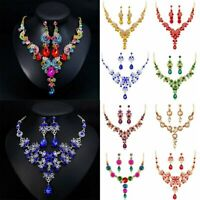 Luxury Prom Wedding Bridal Crystal Rhinestone Necklace Earrings Jewelry Set Gift