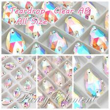 Glass 3230 Teardrop All Size Clear AB Crystal Sew On Flatback Rhinestone Jewelry
