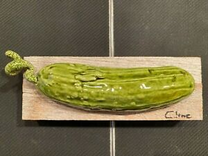 Original Carol Cline Ceramic Hand Sculpted Pickle (small cucumber) Vegetable NEW