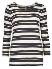 New Ladies Ex M&S Quality T-Shirt Navy Contrast Stripe 3/4 Sleeve Top Size 14-24